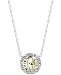 Unwritten Initial 'A' Pendant Necklace With Crystal Pave Circle In Sterling Silver And Gold Flash Two Tone