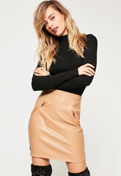 Missguided Nude Curved Hem Faux Leather Zip Pocket Mini Skirt Tan