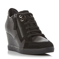 Geox D Eleni Lace Up Sporty Wedge Trainers Black