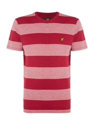Lyle And Scott Wide Stripe Crew Neck Cotton T Shirt Ruby