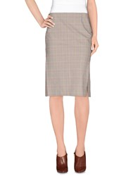 Kiltie Skirts Knee Length Skirts Women Beige