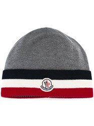 Moncler Striped Trim Knitted Hat Grey