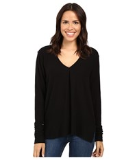 Project Social T Kinley Front Tuck Long Sleeve Black Women's Clothing