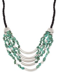 Robert Lee Morris Soho Silver Tone Braided Cord Metallic And Bead Layer Necklace