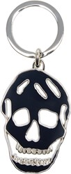 Alexander Mcqueen Navy And Silver Cut Out Skull Keychain