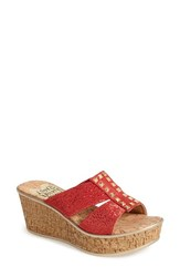 Women's Love And Liberty 'Nadia' Elastic Strap Slide Red