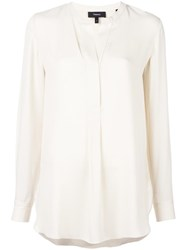 Theory Collarless Blouse Nude Neutrals