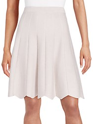 Saks Fifth Avenue Black Scallop Hem Pleated Skirt Beige Crystal