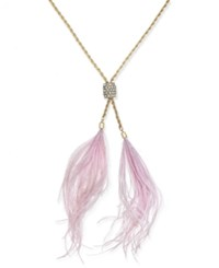Inc International Concepts Gold Tone Mauve Feather Pendant Necklace Only At Macy's