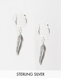 Asos Sterling Silver Feather Hoop Earrings Silver