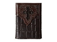 Ariat Croco Cross Embossed Trifold Wallet Brown Wallet