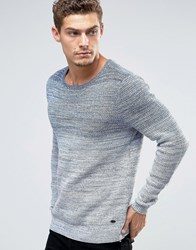 Esprit Crew Neck Knit With Gradient Yarn Fade Navy 400