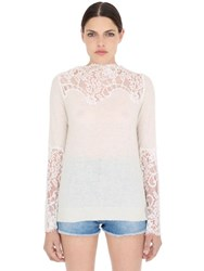 Pink Memories Lace And Wool Knit Sweater