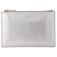 Whistles Tumbled Metallic Small Leather Clutch Bag Silver