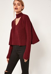 Missguided Burgundy Choker Neck Chunky Cropped Jumper