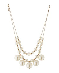 Lydell Nyc Golden Double Strand Pearly Statement Bib Necklace Women's