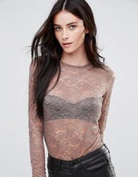 Y.A.S Sheer Round Neck Lace Top Deep Taupe Brown