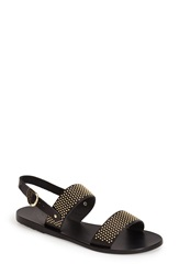 Ancient Greek Sandals 'Dinami' Studded Double Band Sandal Women Black Gold
