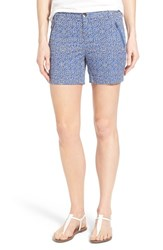 Petite Women's Caslon 'Addison' Zip Pocket Shorts Blue Black Lace Print
