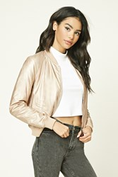 Forever 21 Faux Leather Bomber Jacket Rose Gold