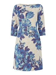 Adrianna Papell Long Sleeve Floral Stretch Dress Blue Multi