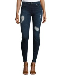 Hudson Krista Distressed Skinny Jeans Dark Blue