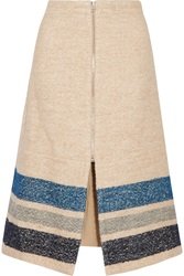 Sea Striped Silk And Wool Blend Midi Skirt
