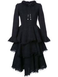 Huishan Zhang Ruffle Skirt Tweed Dress Black