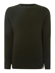 Label Lab Seine Ribbed Crew Neck Jumper Dark Green