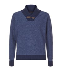 Peter Millar Shawl Collar Wool And Cashmere Jumper Male Blue