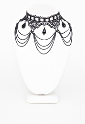 Missguided Black Gothic Chandelier Style Necklace Black