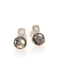 Ippolita Rock Candy Grey Moonstone Pyrite And Sterling Silver Two Stone Stud Earrings Silver Multi