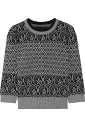 Marc Jacobs Metallic Fair Isle Wool Blend Sweater Gray