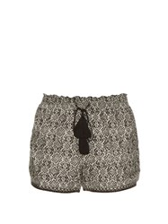 Talitha Block Print Cotton And Silk Blend Shorts Black Multi