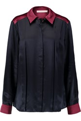 Matthew Williamson Two Tone Silk Satin Shirt Navy
