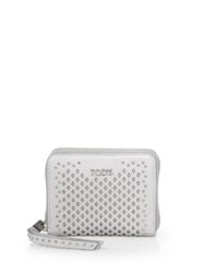 Tod's Small Studded Laser Cut Leather Zip Wallet