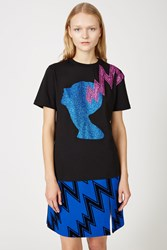 Christopher Kane Glitter Lightning Heads Tee Black Blue