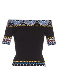 Peter Pilotto Geometric Knit Off The Shoulder Top Black Multi