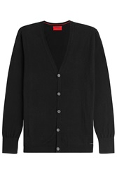 Hugo Cotton Silk Cashmere Cardigan Black