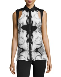 L.A.M.B. Silk Rose Photo Print Blouse White Black