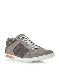 Dune Tweet Lace Up Leather Panel Detail Trainers Grey