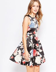 Closet Floral Midi Skater Dress With Triangle Cut Out Back Multi