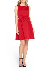 Tahari Women's Bow Front Fit And Flare Dress Cherry