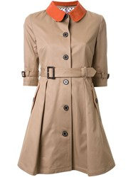Guild Prime Half Sleeve Flared Trench Coat Brown