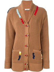 Nina Ricci Embroidered Shawl Neck Cardigan Nude And Neutrals