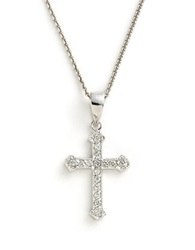 Lord And Taylor Sterling Silver And Cubic Zirconia Cross Pendant Necklace