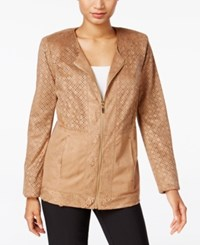 Jm Collection Laser Cutout Jacket Only At Macy's Willow Brown