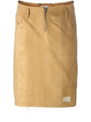 Walter Van Beirendonck Vintage Frayed Fitted Skirt Nude And Neutrals