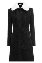 Carven Coat With Rabbit Fur Collar Black