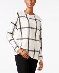 Charter Club Petite Cashmere Windowpane Print Sweater Only At Macy's Ivory Combo